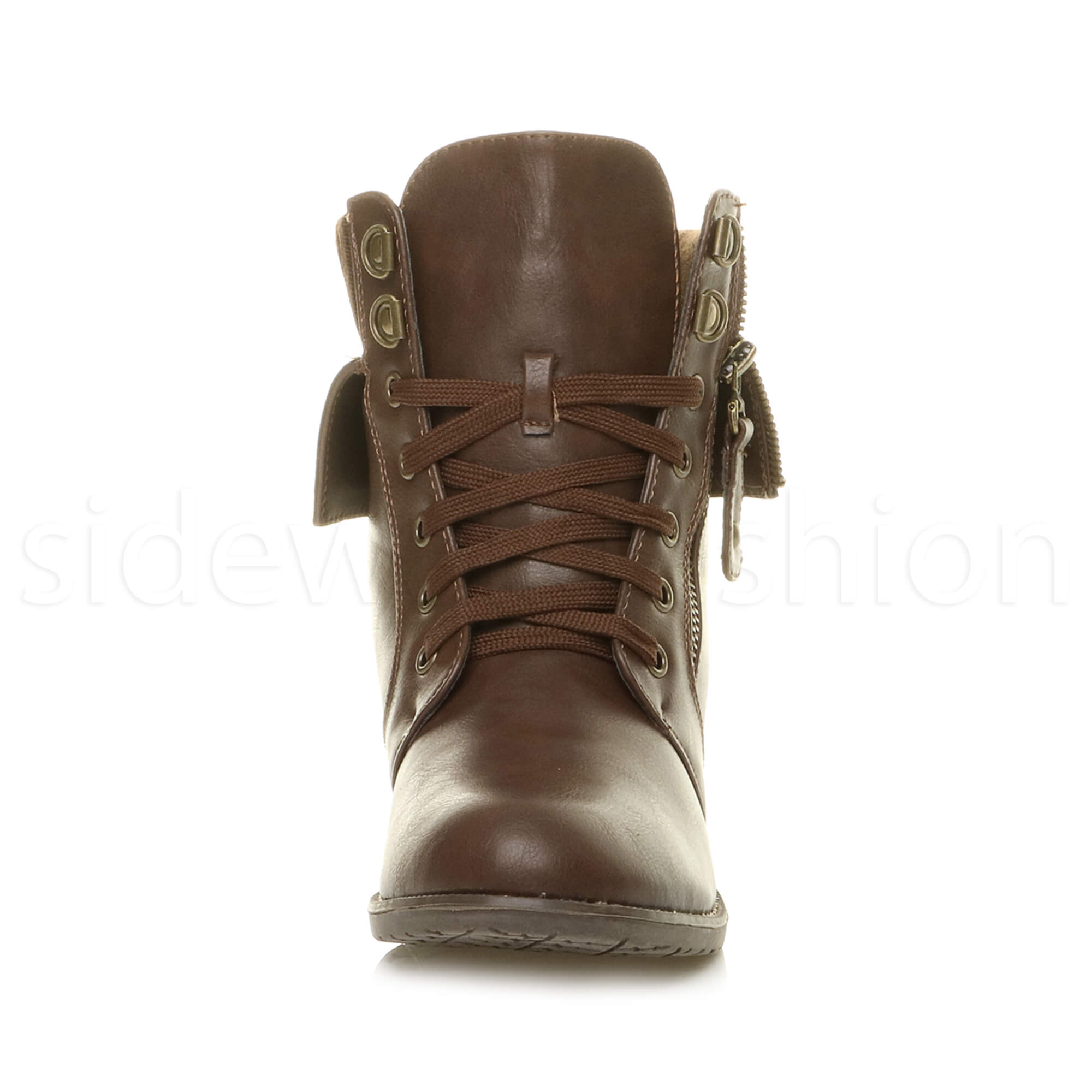 womens low heel lace up knitted cuff zip combat