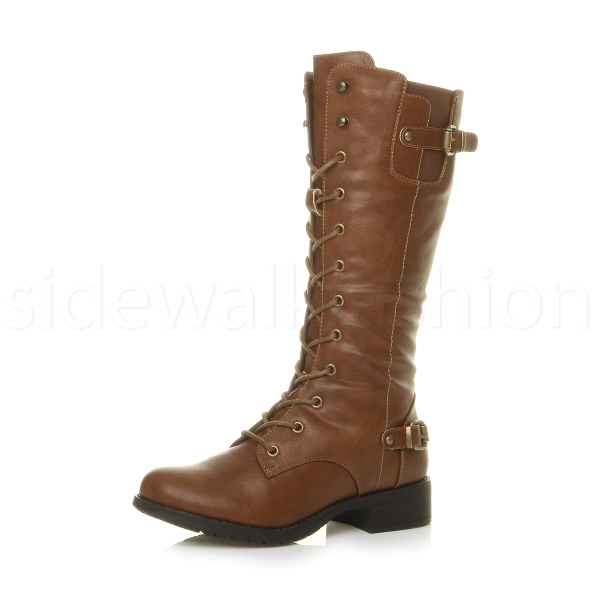 womens low heel buckle eyelet lace up