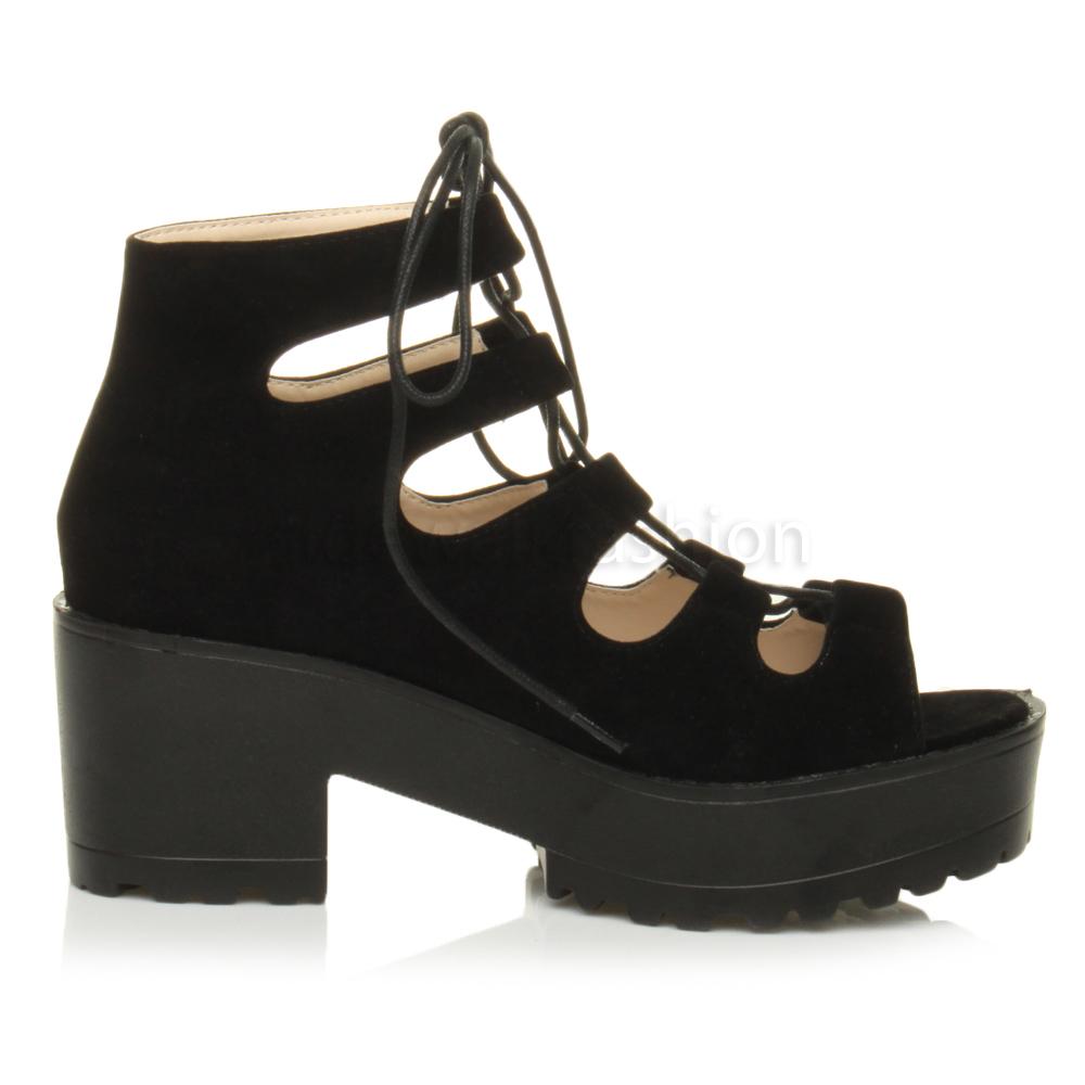 Black sandals grunge - Womens Ladies Chunky Mid Heel Platform Lace Up