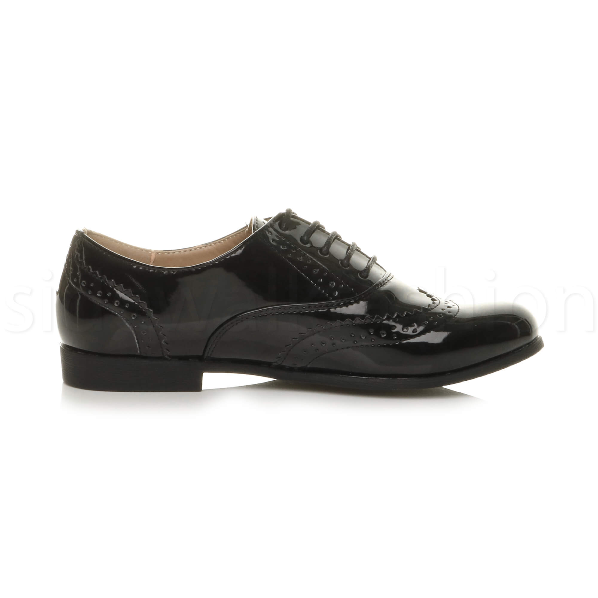 Womens ladies lace up smart old fashioned oxfords brogues work shoes flats size