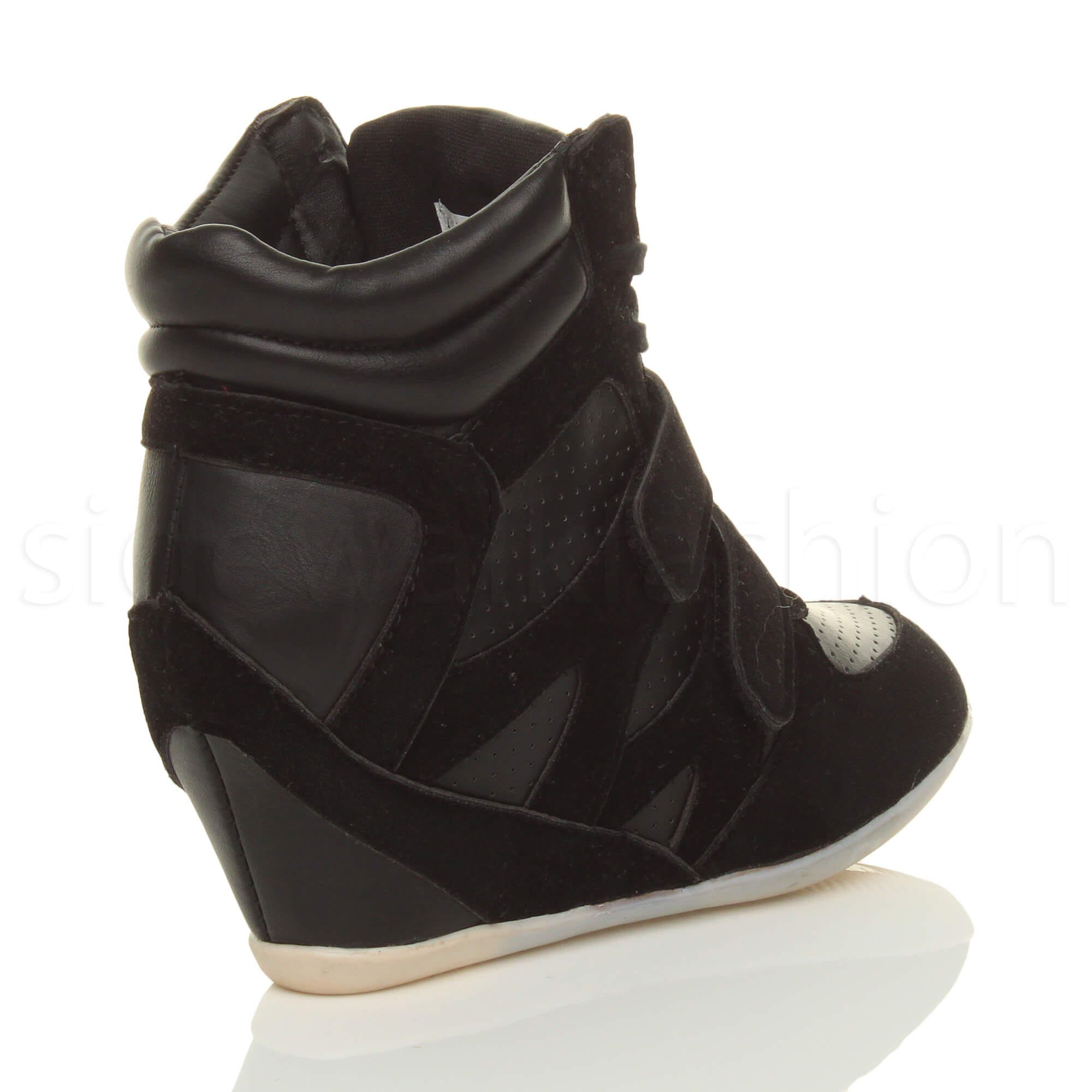 WOMENS LADIES HIGH HEEL LACE WEDGE HI HIGH TOP TRAINER ANKLE BOOTS ...