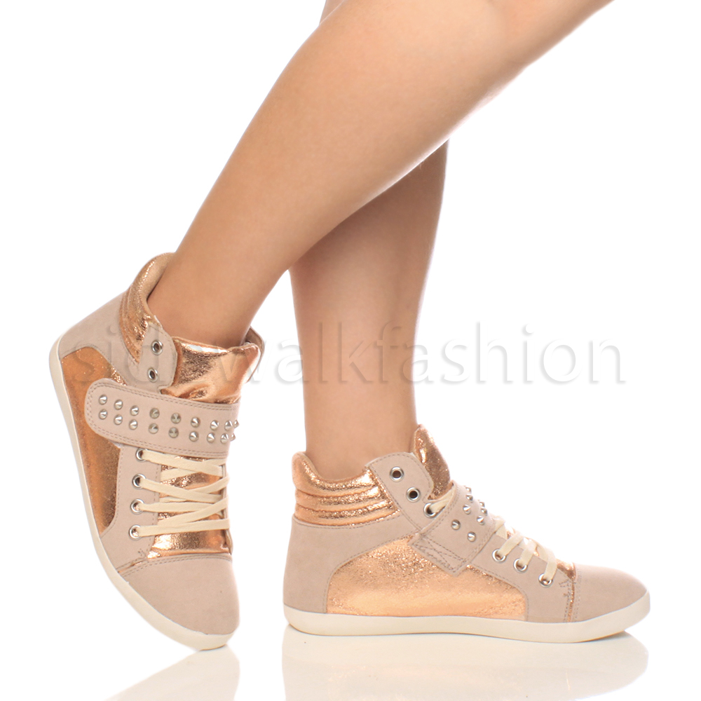 WOMENS-LADIES-GIRLS-FLAT-LACE-UP-SPIKE-STUDDED-HIGH-TOP-TRAINERS-SNEAKERS-SIZE