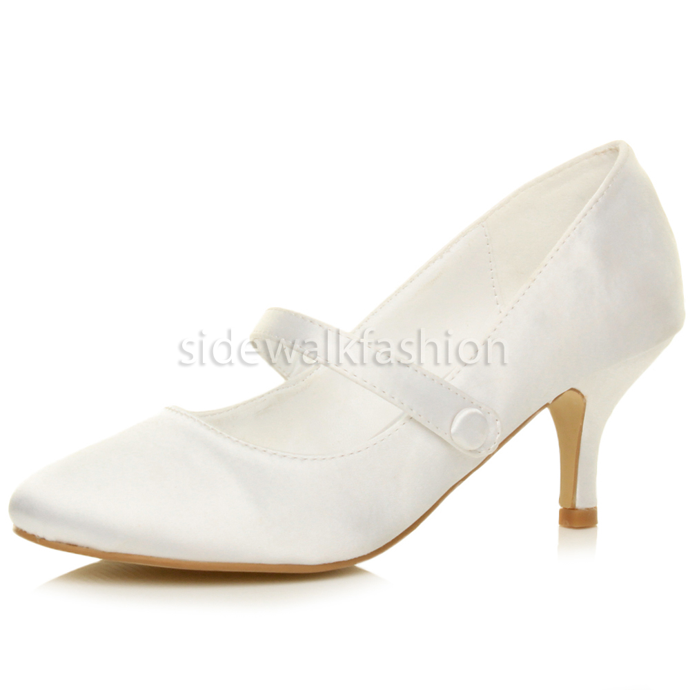 Womens mid low kitten heel mary jane style wedding bridal for Low heel dress shoes wedding