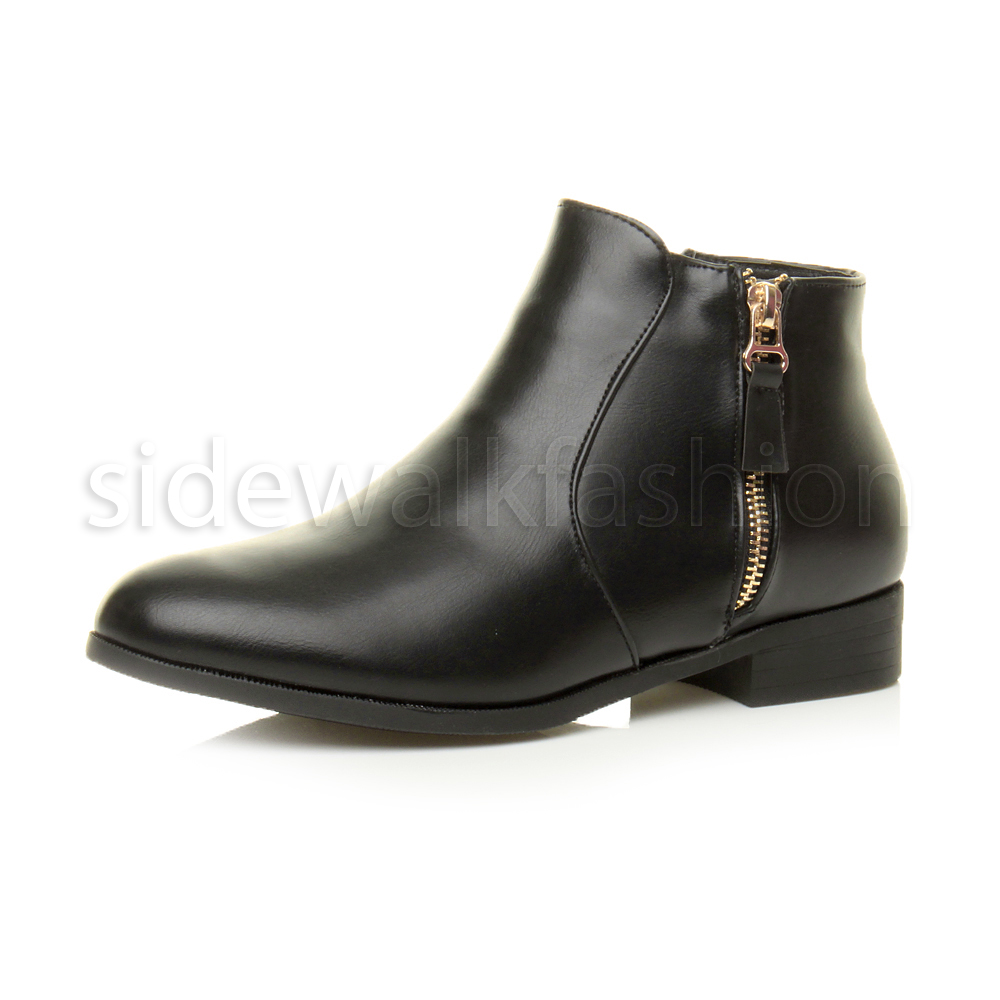 Lastest WOMENS LADIES BLACK FLAT FAUX LEATHER BUCKLE ZIP UP CHELSEA ANKLE BOOTS SIZE 3-8 | EBay
