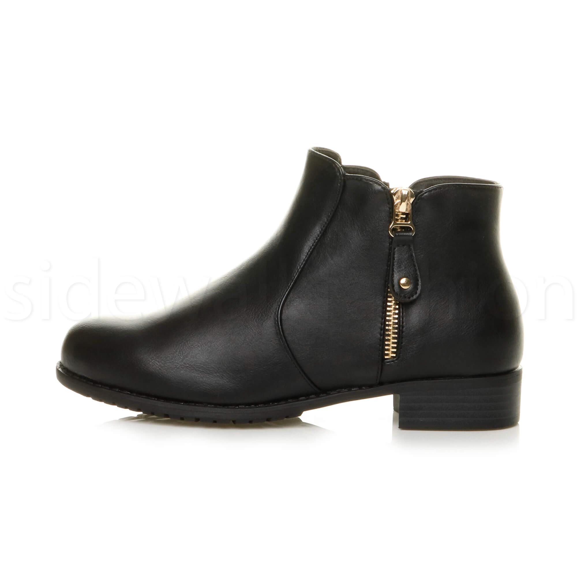 Womens ladies low heel gold zip smart work ankle riding biker boots booties size