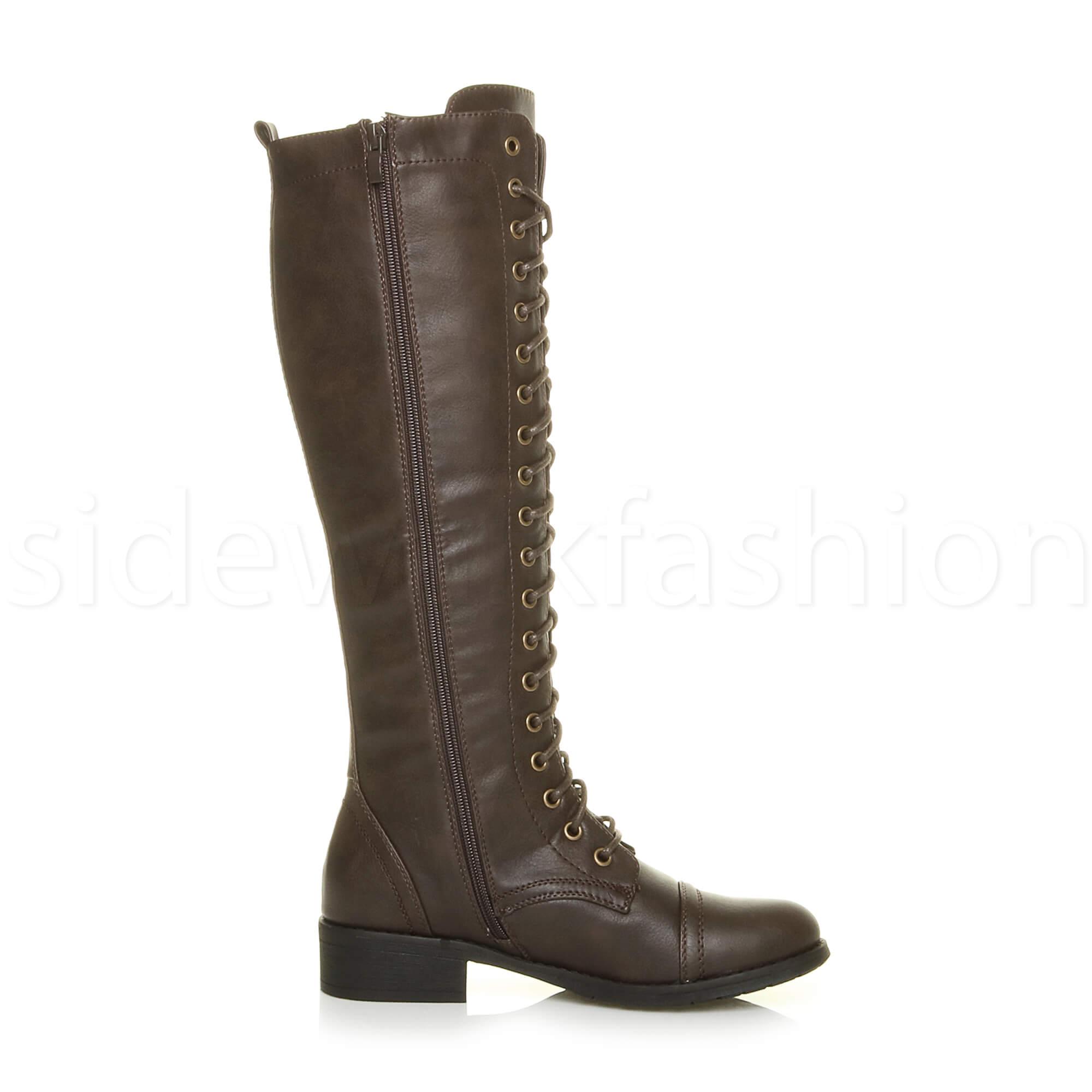 womens low block heel lace up zip knee high calf