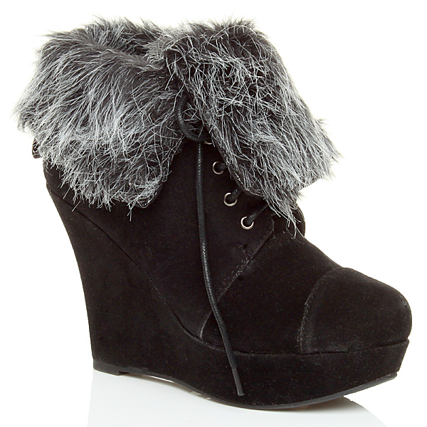 womens wedge platform fur cuff winter lace up ankle