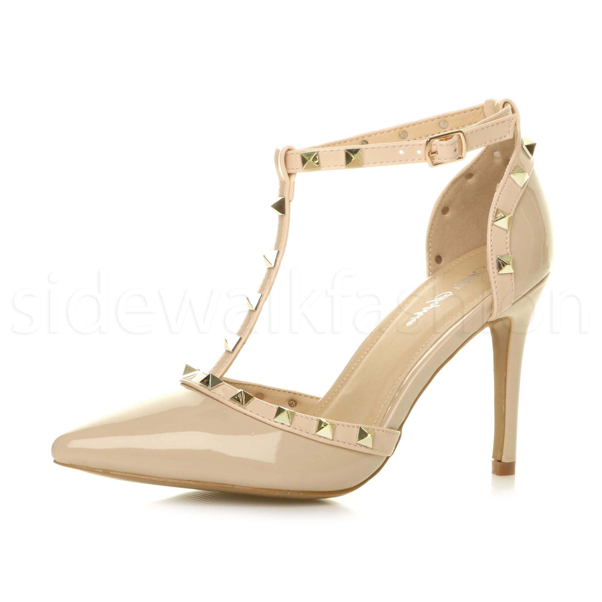 womens high heel rock studded t bar