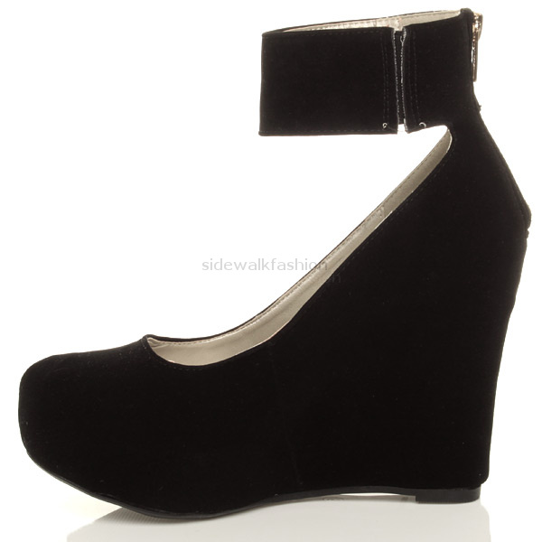 Womens Ladies Gold Zip Ankle Strap High Black Wedge