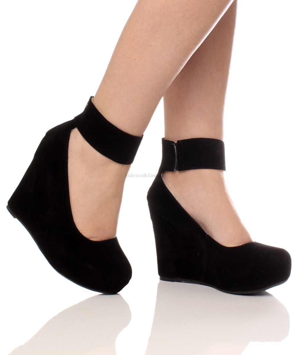 WOMENS LADIES GOLD ZIP ANKLE STRAP HIGH BLACK WEDGE PLATFORM SHOES BOOTIES SIZE