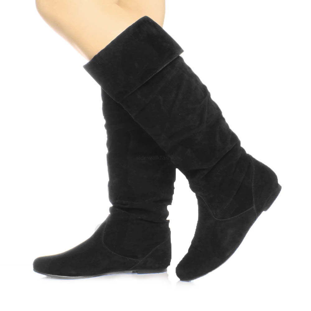 womens flat cuff knee high pull on slouch