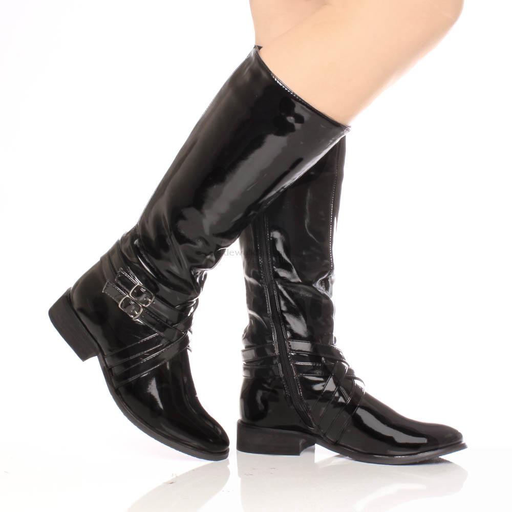 womens zip buckle low heel flat wide stretch