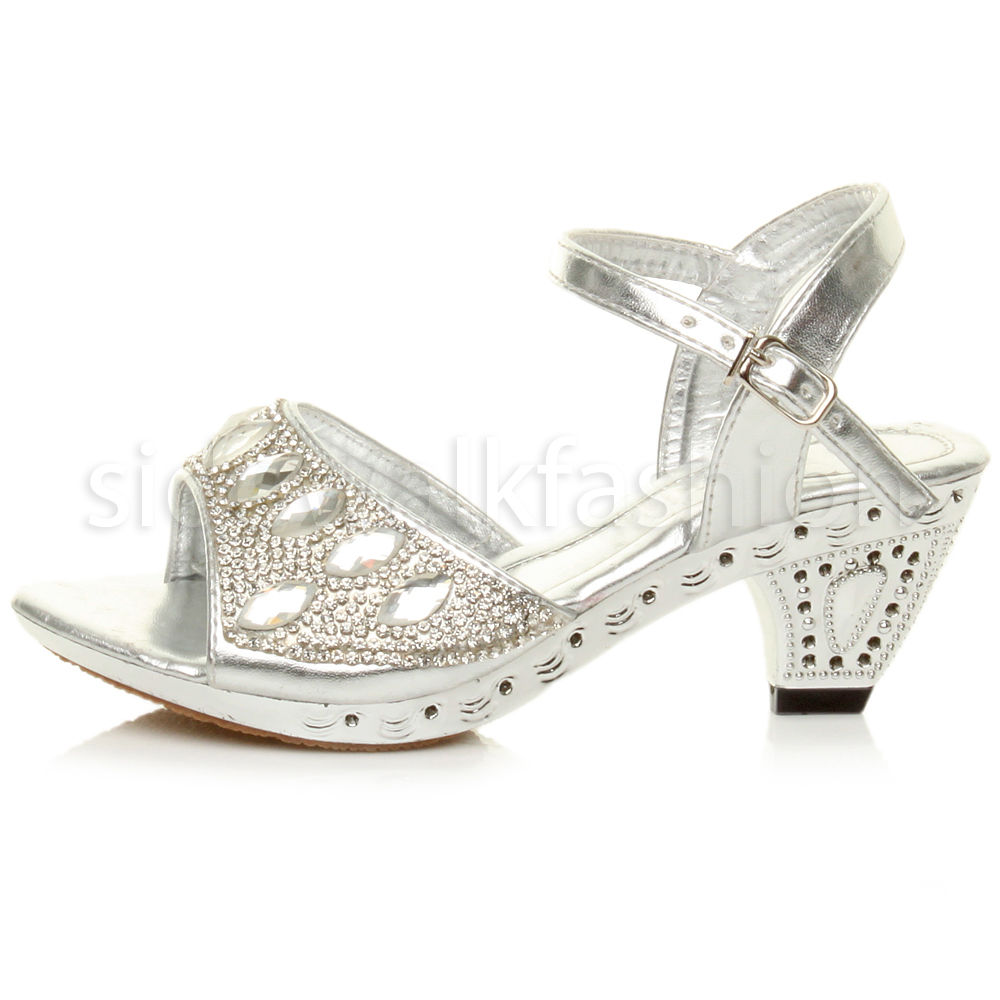 GIRLS CHILDRENS LOW HEEL STRAP BRIDESMAID PARTY DIAMANTE EVENING SHOES SIZE