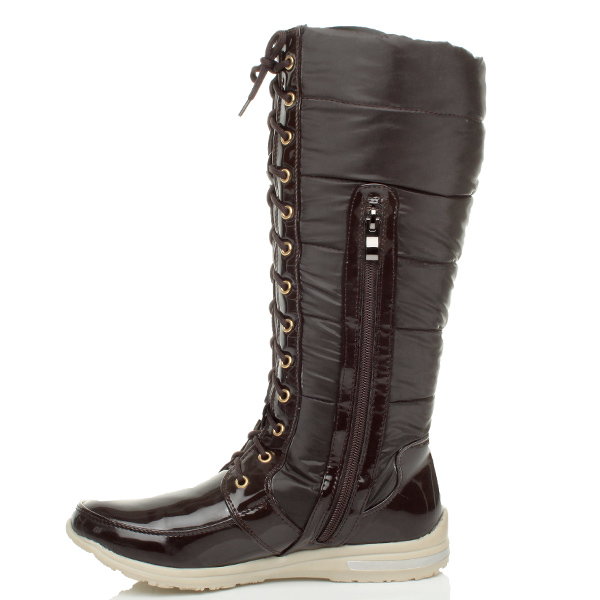 womens lace up zip fur lined winter snow padded