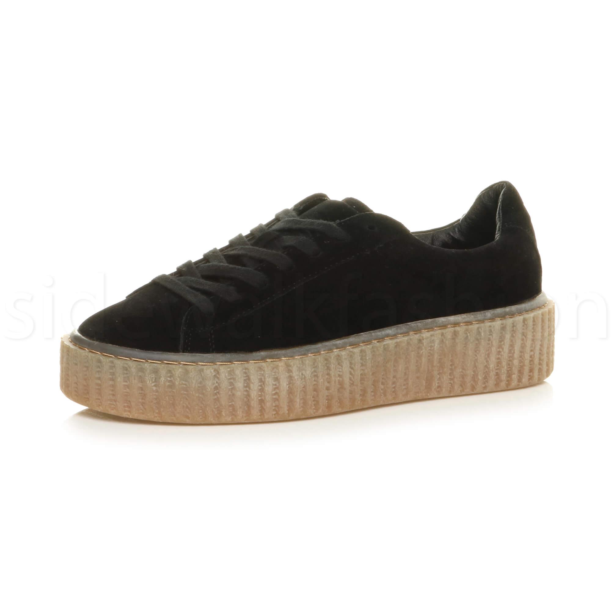 womens ladies platform flatform pom pom lace up trainer creepers shoes size ebay. Black Bedroom Furniture Sets. Home Design Ideas