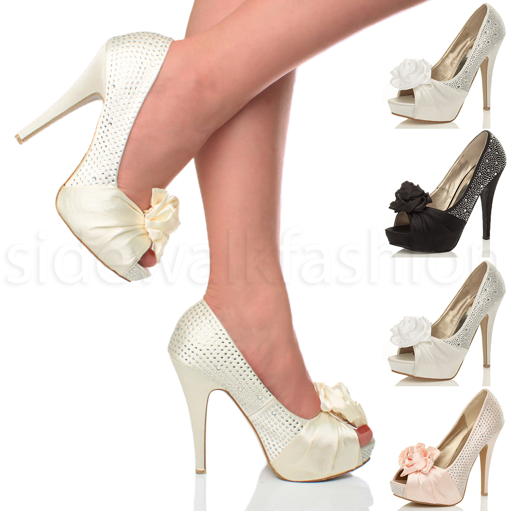 womens ladies evening wedding prom party high heel platform shoes pumps size ebay. Black Bedroom Furniture Sets. Home Design Ideas