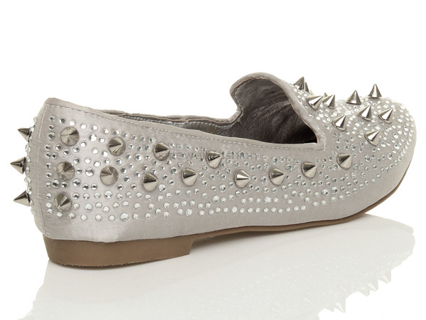 Womens-ladies-flat-spike-studded-gem-embellished-loafers-pumps-shoes-size