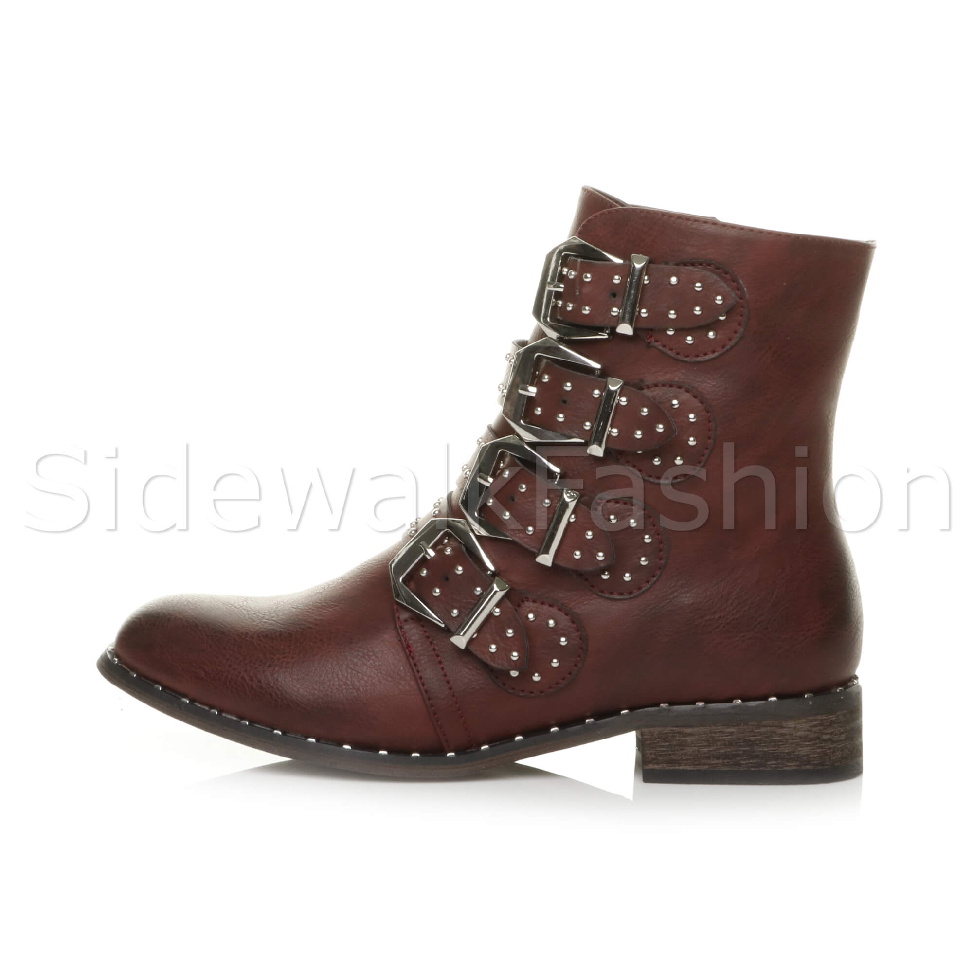 Womens ladies block low heel studded strap biker military combat ankle boots