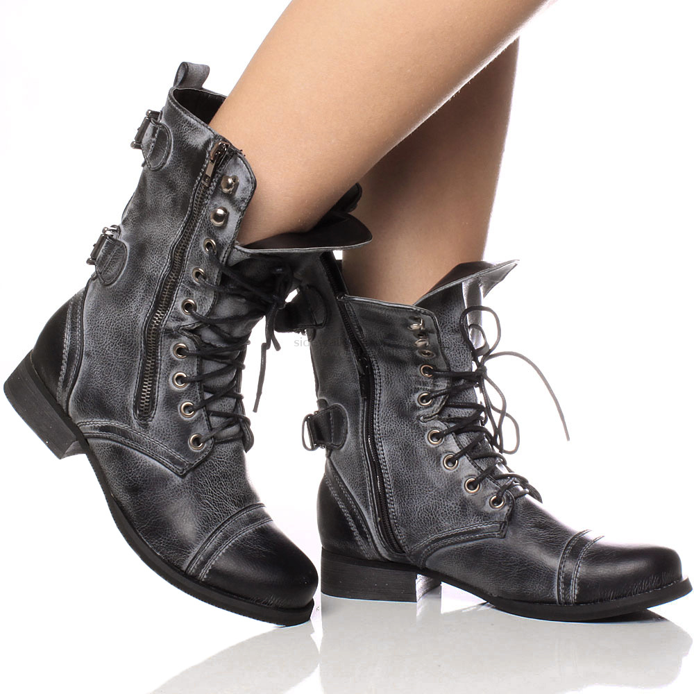 womens low heel combat army lace up ankle