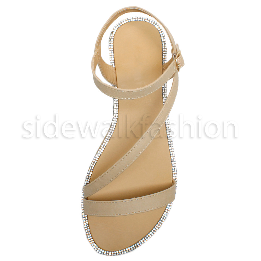 Womens ladies flat strappy diamante edge summer holiday evening sandals size