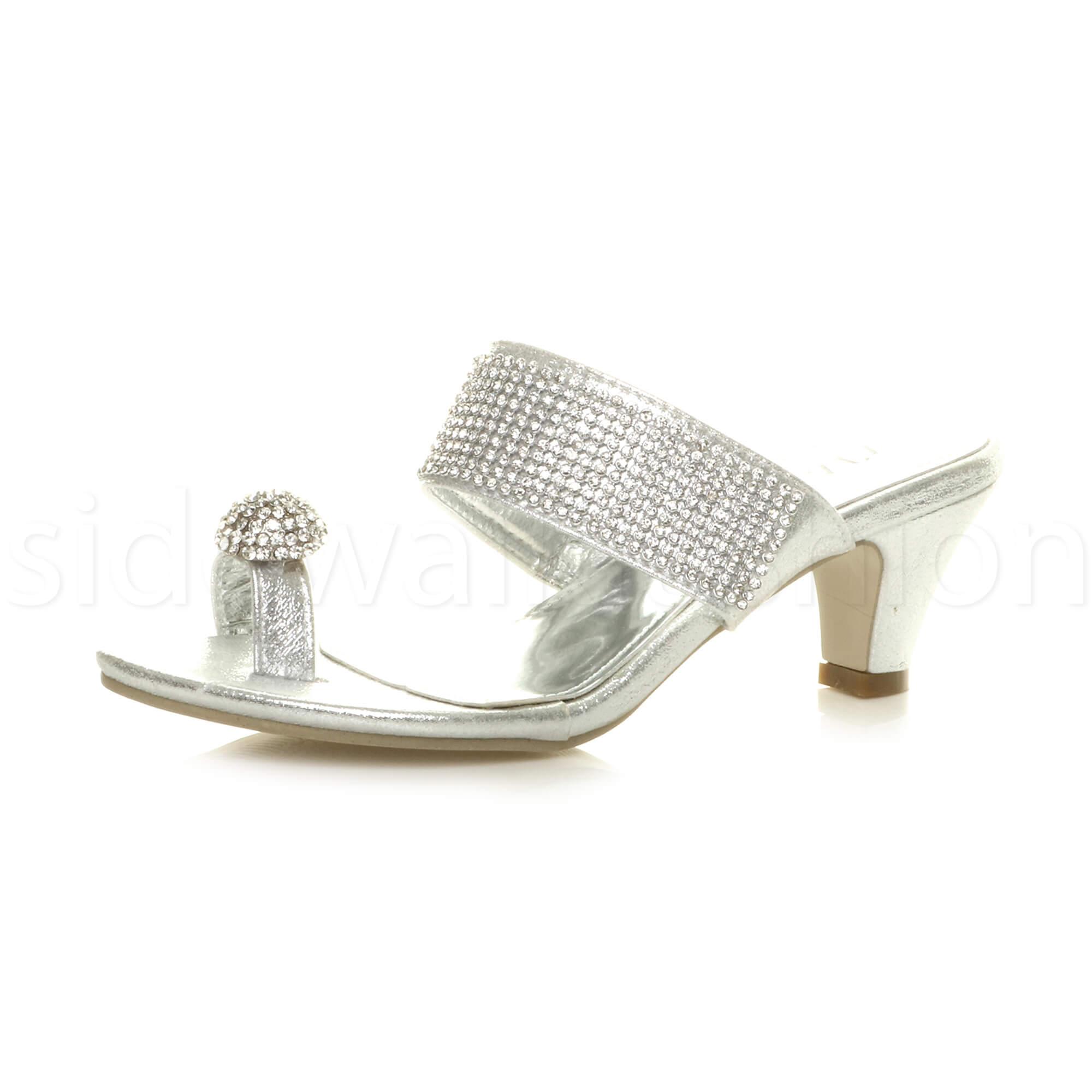 Womens Ladies Mid Heel Diamante Toe Ring Slip On Strappy