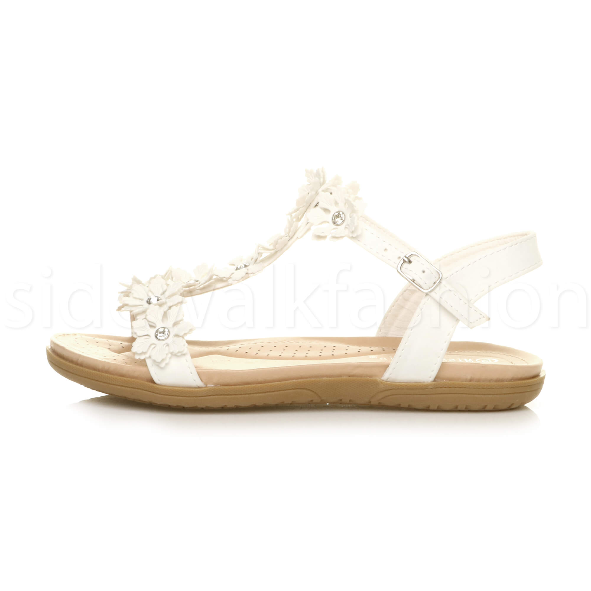 Womens ladies flat wedge flower t-bar gem diamante summer comfort sandals size