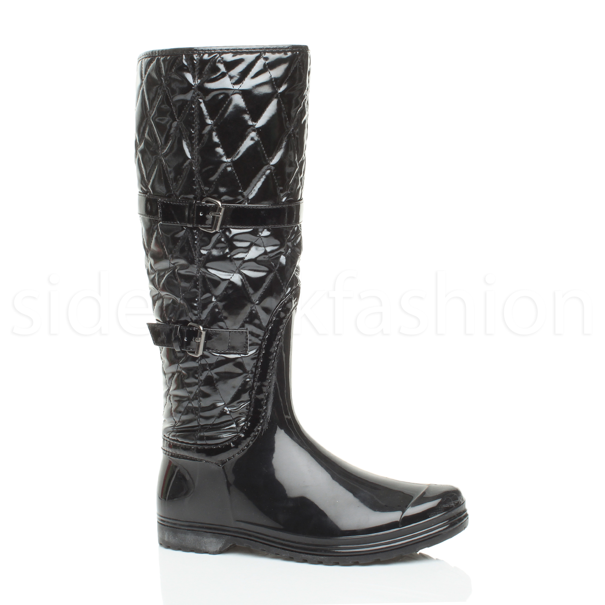 womens festival rubber quilted calf knee boots