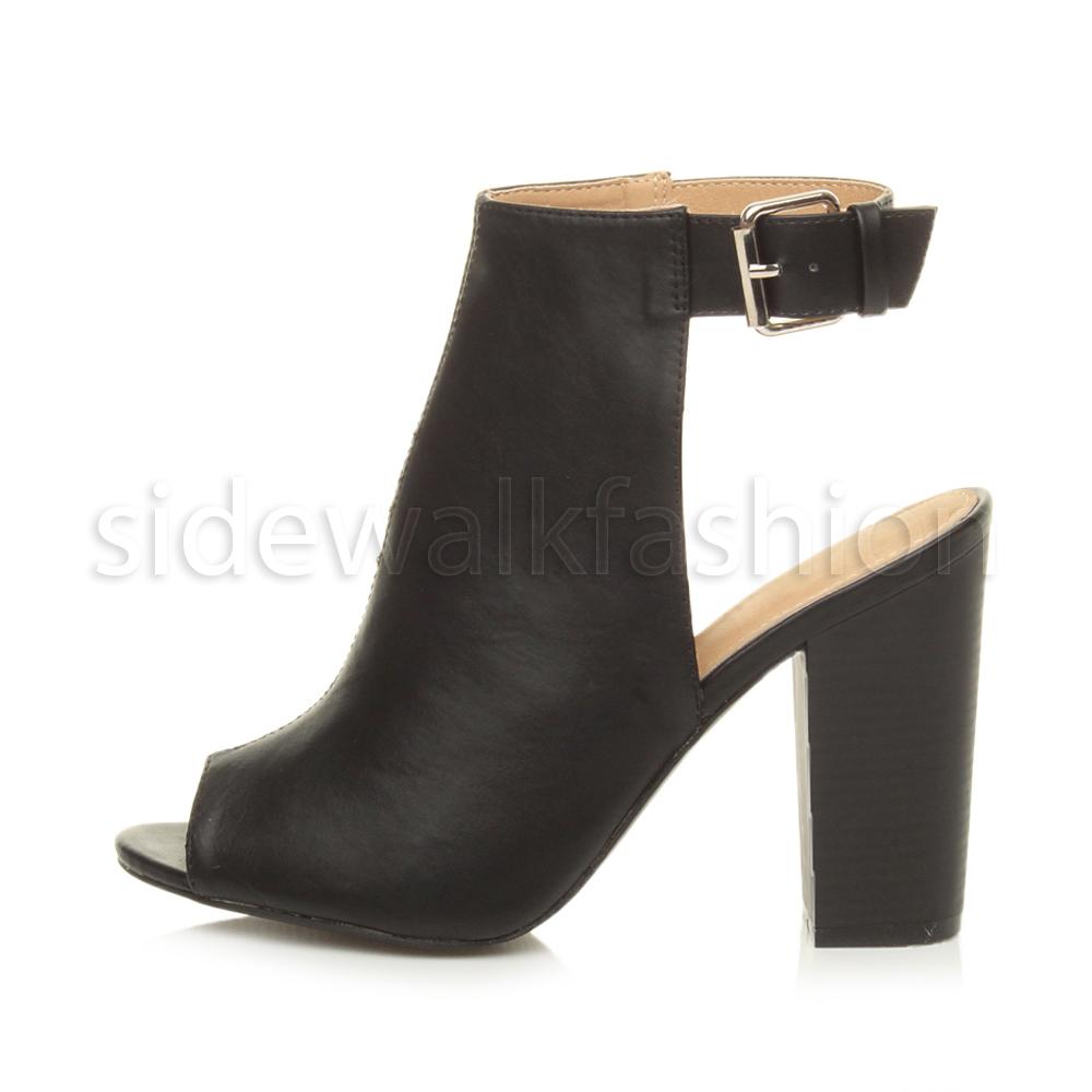 Womens ladies high block heel peep toe open back ankle ...