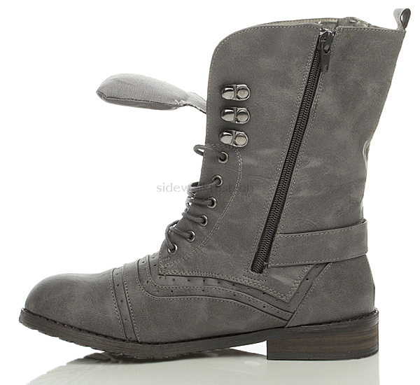 Womens Military Brogue Combat Army Lace Up Boots Size