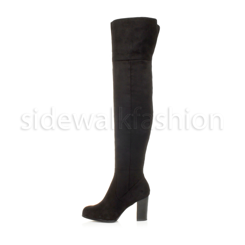 WOMENS LADIES HIGH BLOCK HEEL ZIP OVER THE KNEE RIDING PIRATE THIGH BOOTS SIZE