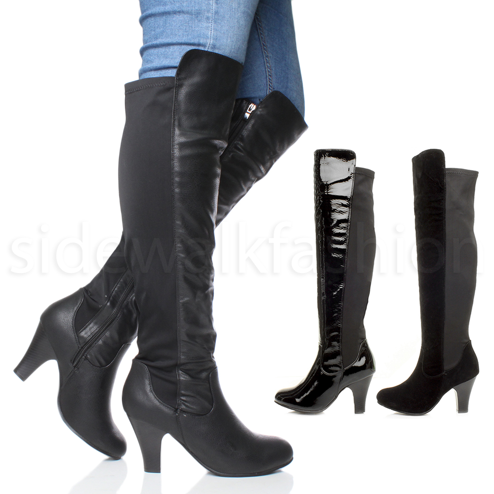 womens high chunky heel the knee stretch zip