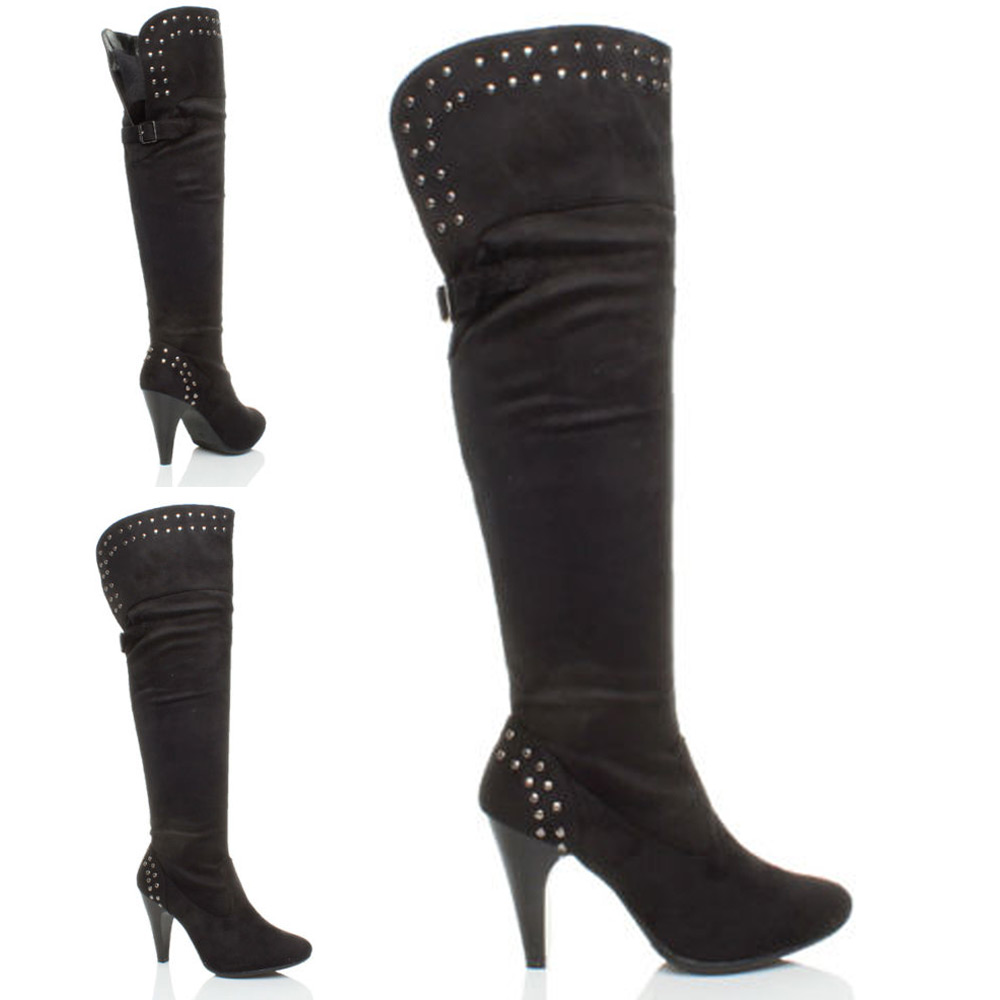 WOMENS-LADIES-HIGH-HEEL-OVER-KNEE-STUDDED-BUCKLE-TASSEL-ZIP-BOOTS-SIZE