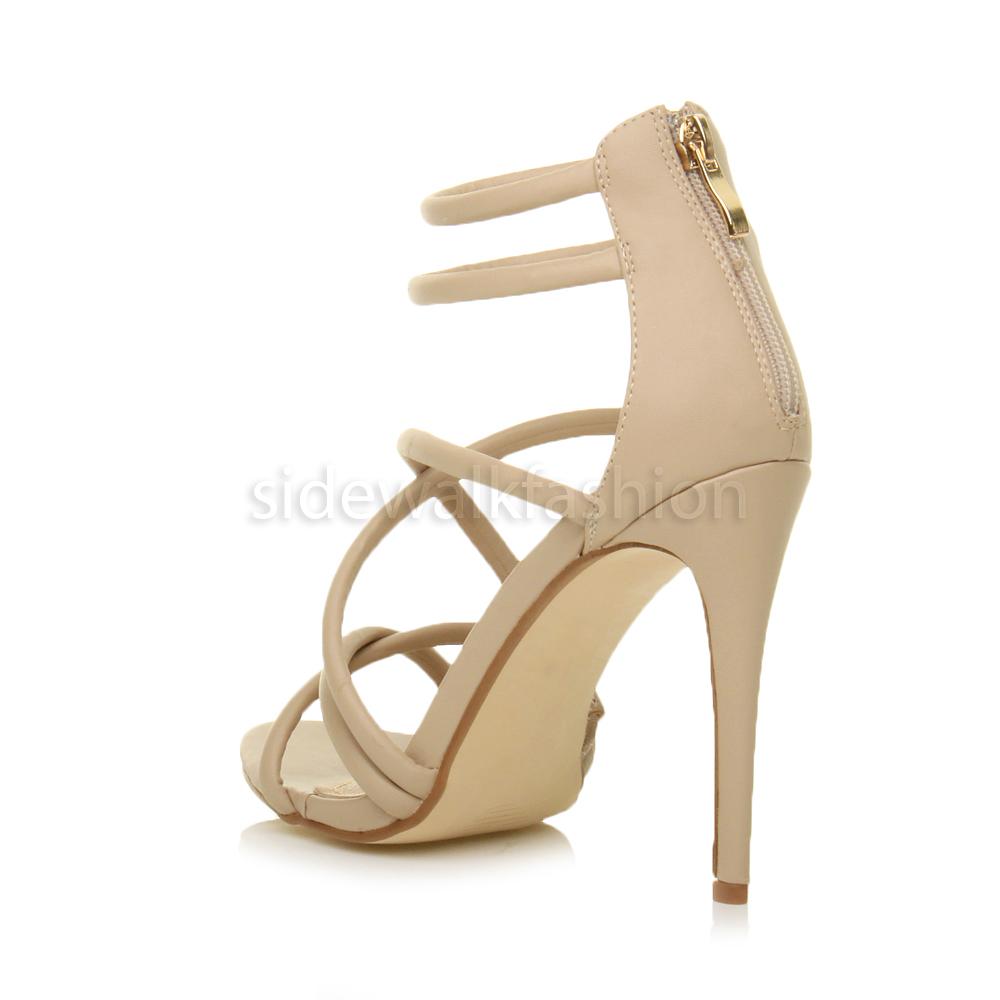 Womens ladies crossed elastic straps high heel sandals party peep toe shoes size