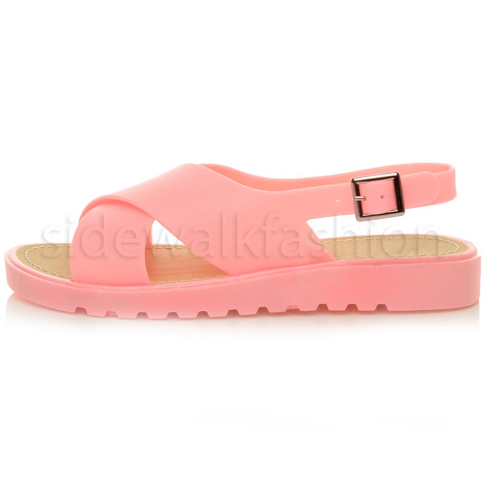 womens platform chunky crossover jelly straps