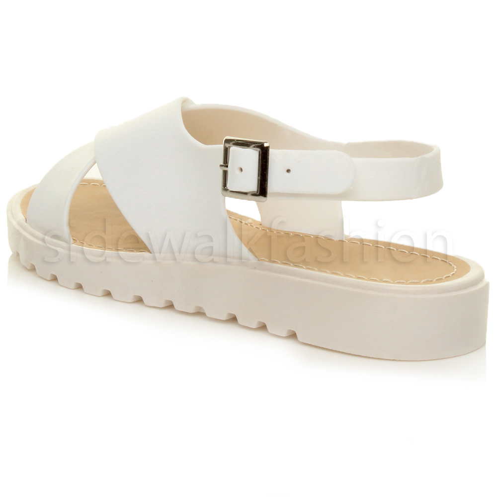 b454d2b7bc112 Womens ladies platform chunky crossover jelly straps .