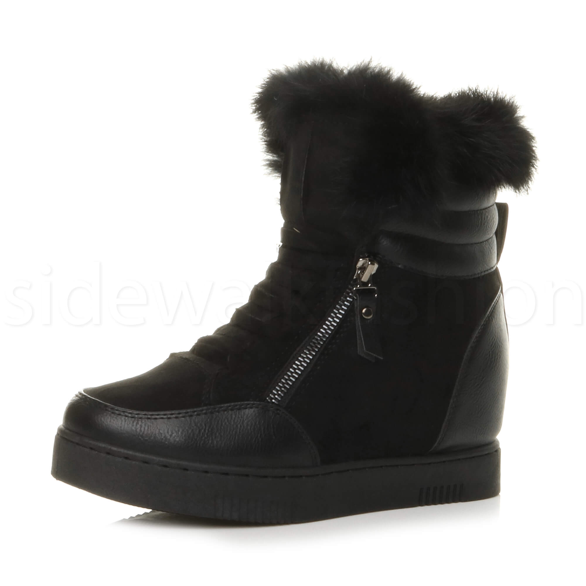 WOMENS LADIES MID WEDGE HEEL ZIP FUR LINED CUFF ANKLE BOOTS TRAINERS SIZE