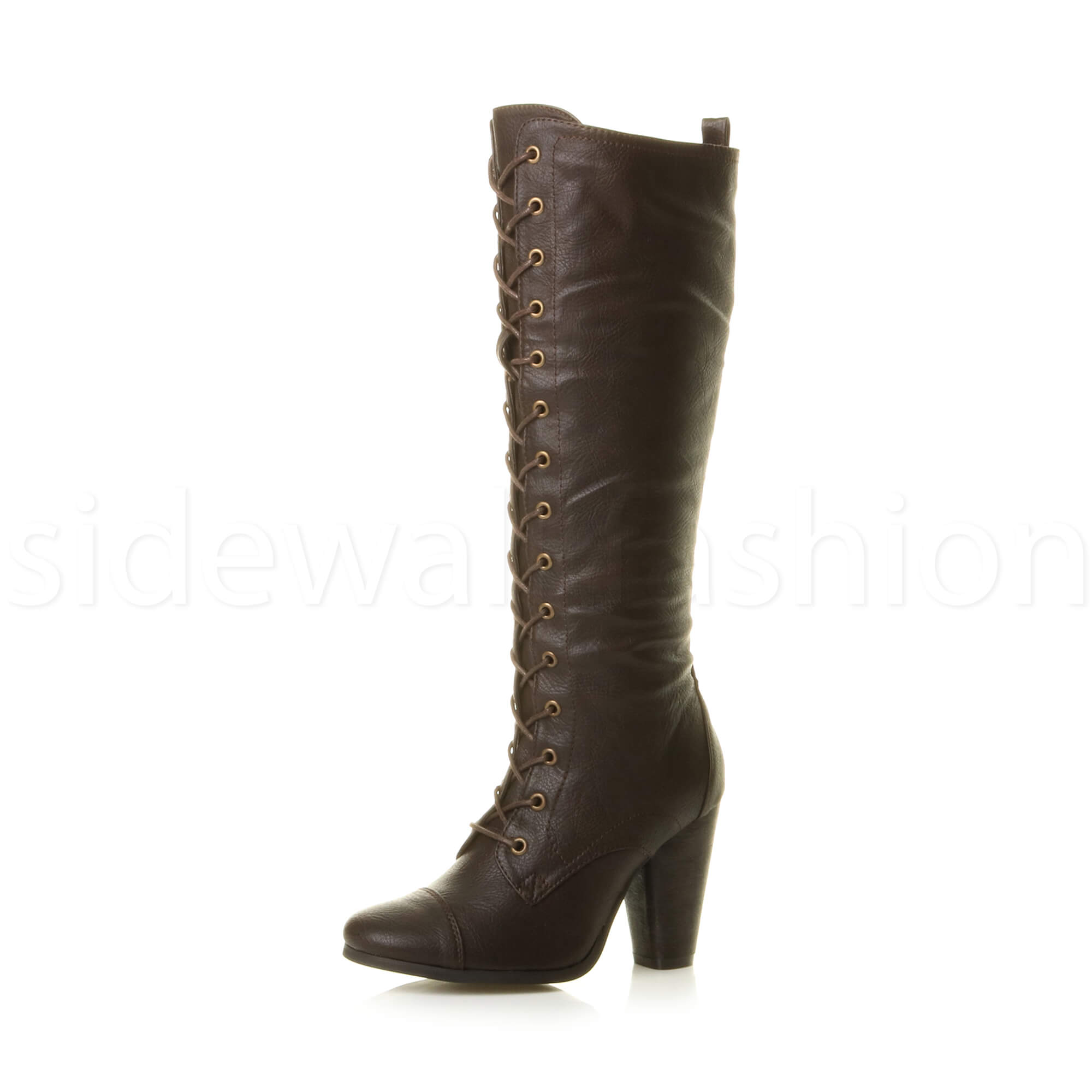 Cool Black / Dark Brown Synthetic Leather High Heel Womens Mid-Calf Boots Size 5 - 10 | EBay