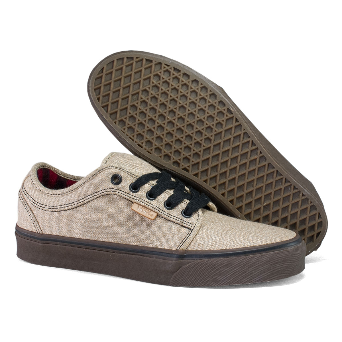 vans shoes chukka low tan & white skate shoe