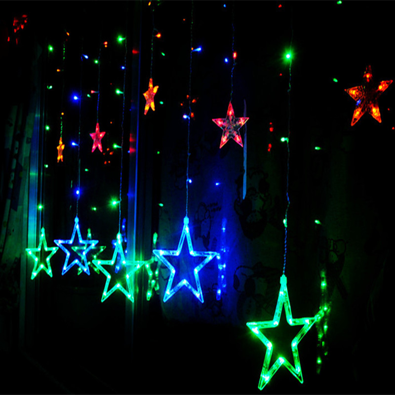 12 twinkling stars christmas window display light 8 modes for Window net lights