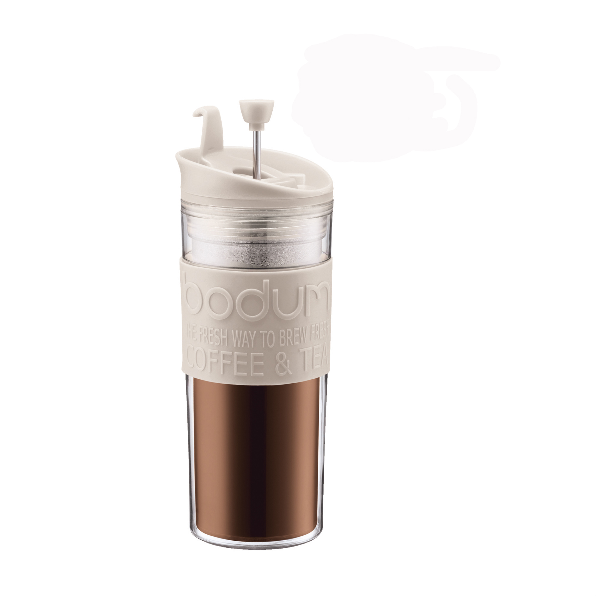 Bodum 0.45L Travel Mug Press Double Wall Plastic Coffee Maker Off White Boxed eBay