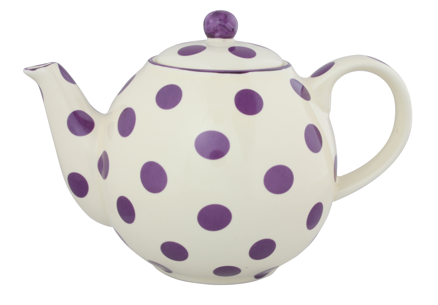 London Pottery 4 Cup Globe Teapot Cream With Aubergine