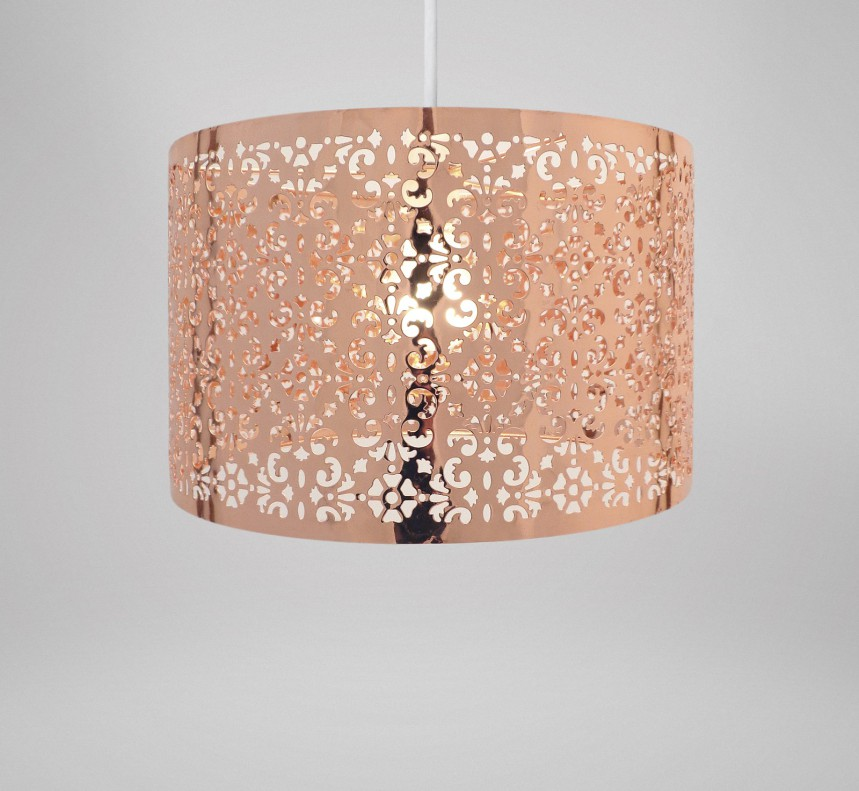 Large Metal Lamp Shade: Country Club Copper 29cm Moroccan Ceiling Light Lamp Shade