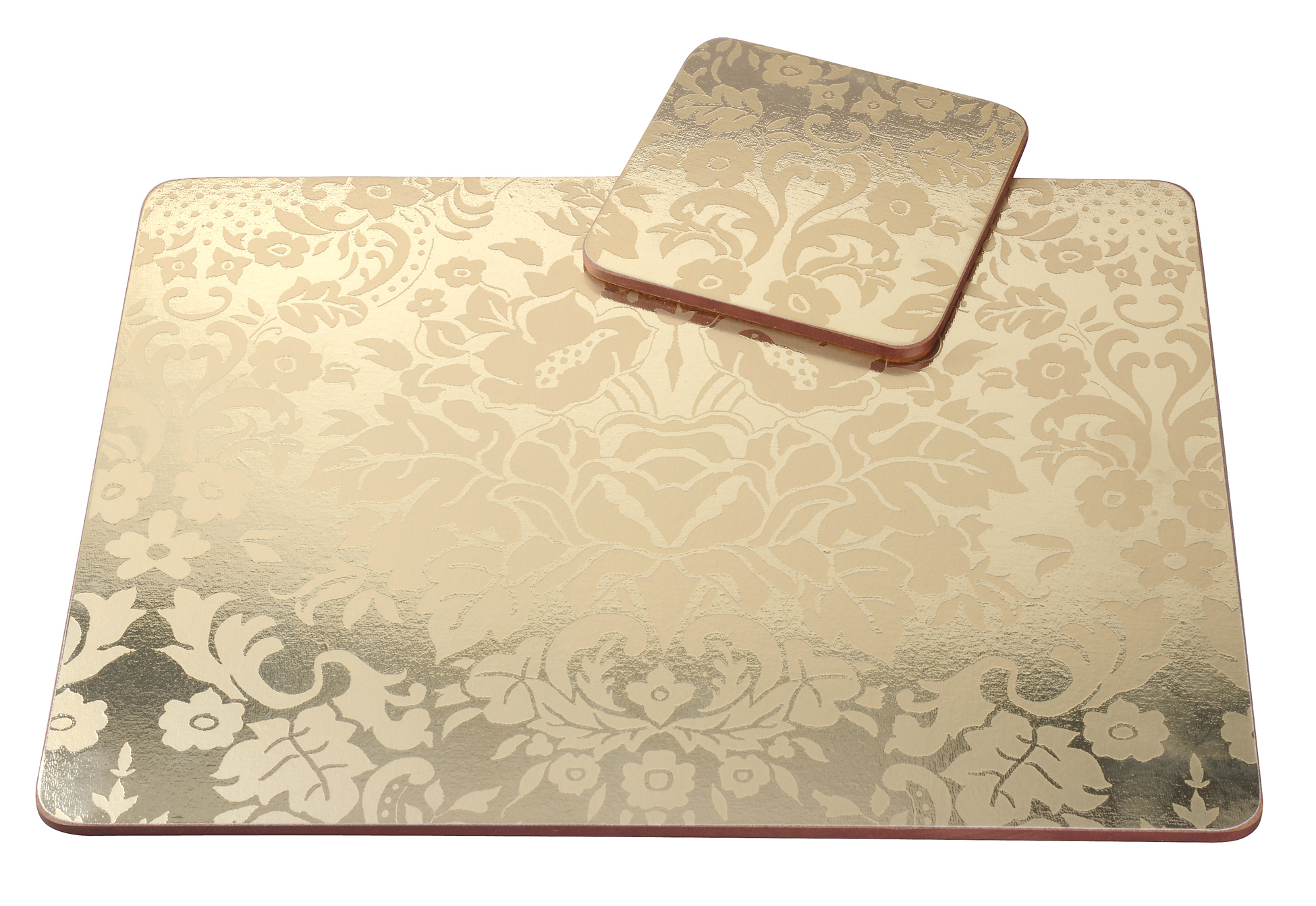 Pimpernel 4 X Damask Gold 305cm Placemats amp Coasters MDF