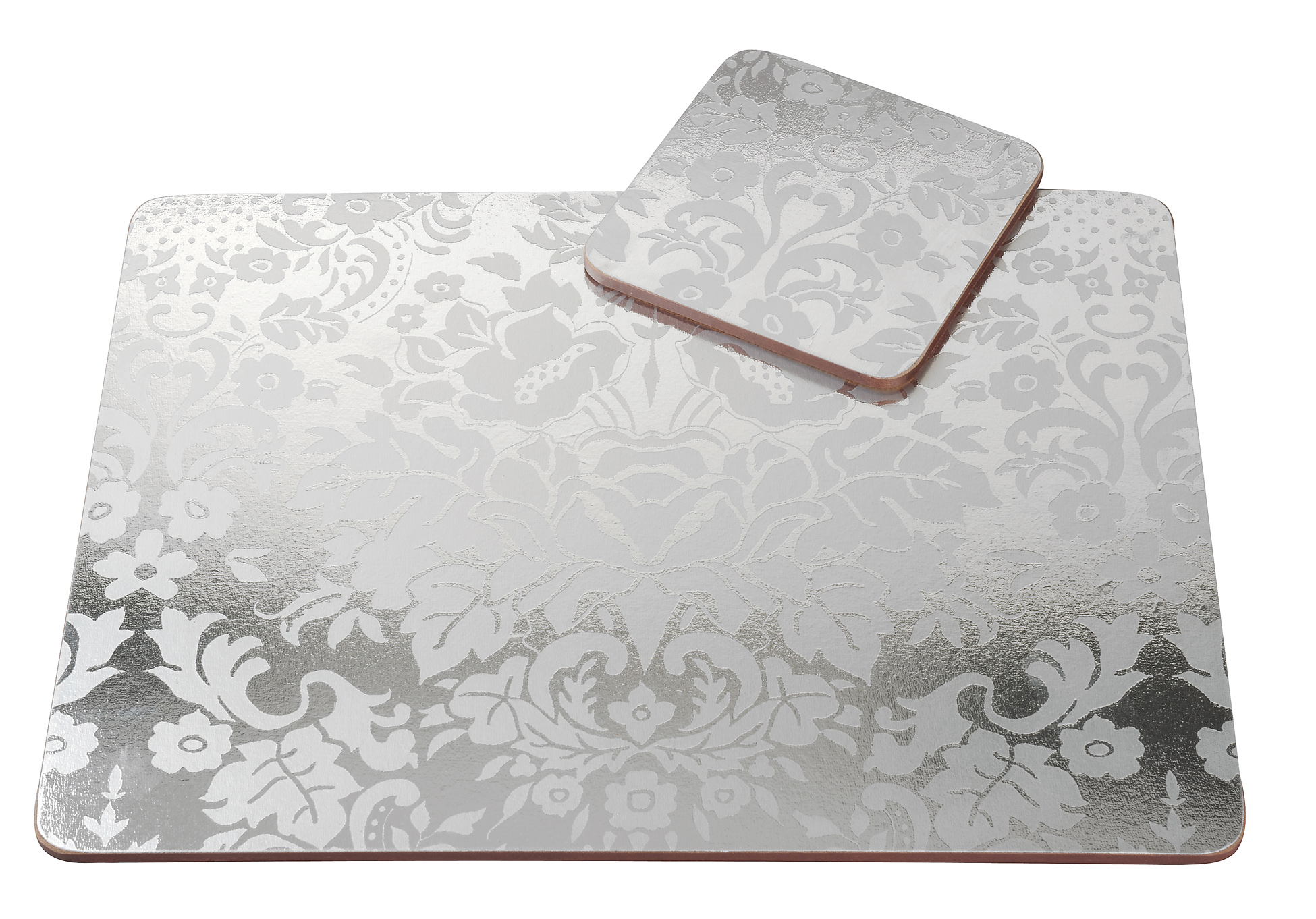 Pimpernel 4 X Damask Silver Placemats Coasters