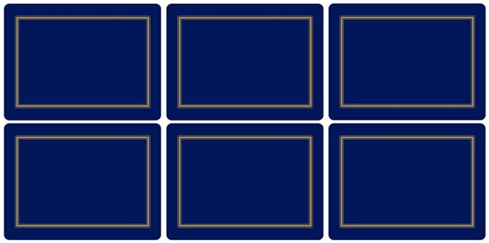 Pimpernel Set Of 6 Classic Midnight Blue Placemats Table
