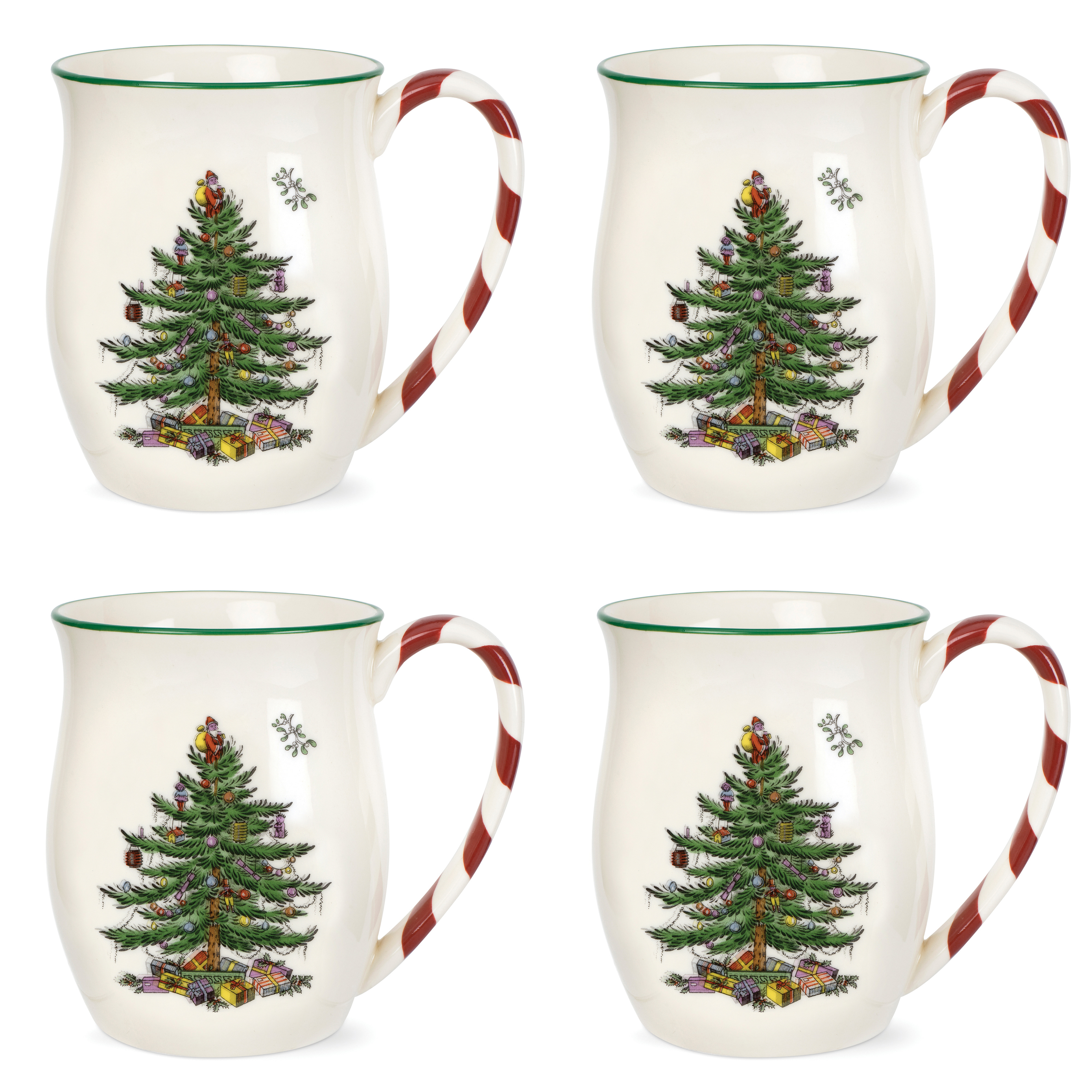 spode christmas tree mugs with peppermint handles set of 4. Black Bedroom Furniture Sets. Home Design Ideas