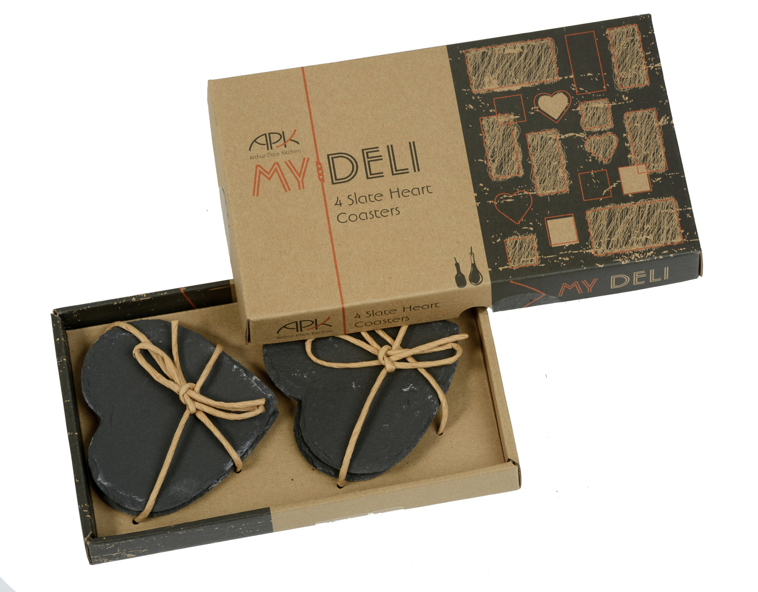 Arthur price set of 4 my deli slate heart coasters drink mats dining gift boxed ebay - Slate drink coasters ...