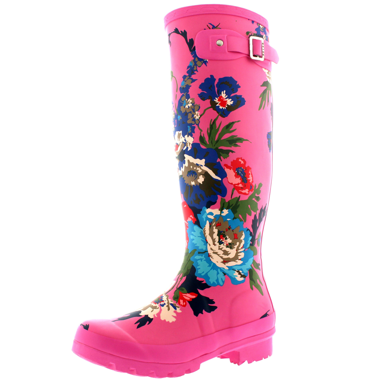 Womens Flower Print Floral Winter Snow Rain Waterproof Wellington ...