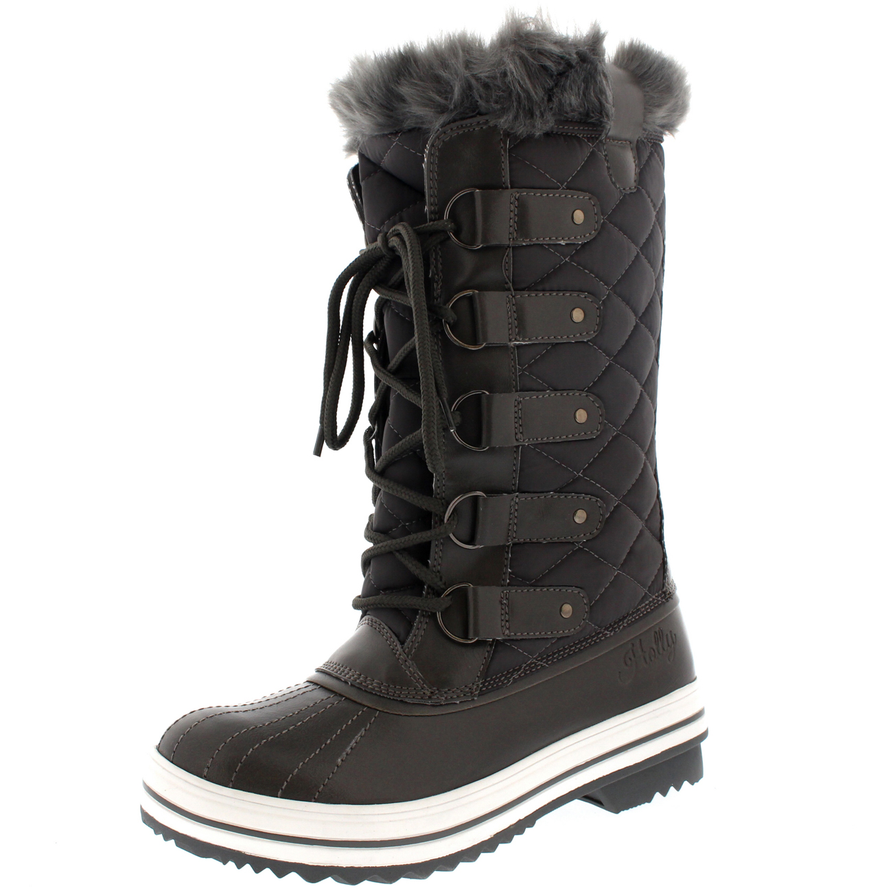 Womens Snow Boot Nylon Tall Winter Fur Lined Snow Warm Quilted ...