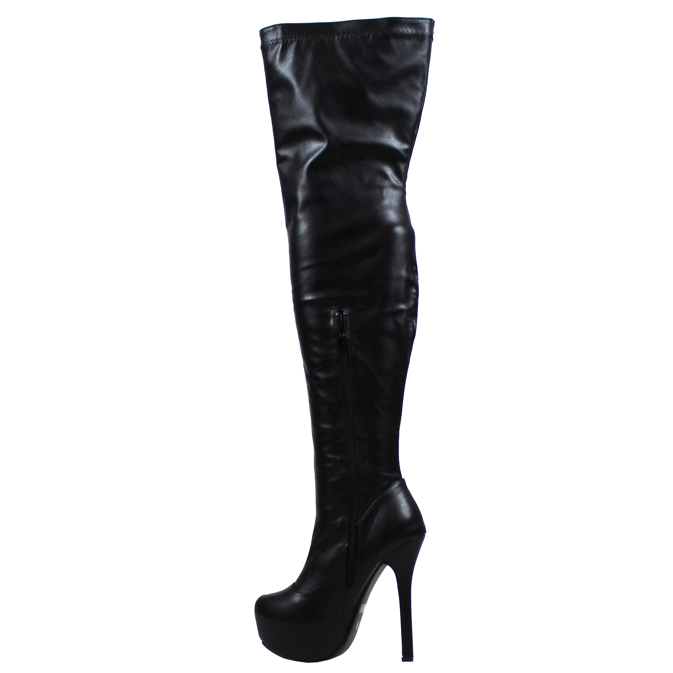 Womens Evening Thigh High Block Heel Winter Long Wide Fit Stretch ...